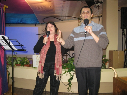 Teaching about the Tabernacle with Tolik at a congregation in Jerusalem about