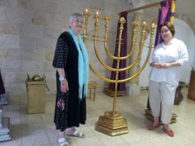 """Me and my mom during one of our """"Woven with Gold"""" seminars held in Israel a few years ago."""