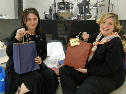 Tammy and Marisa working on gift bags for participants of our Woven with Gold weekend